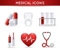Health care medical icons set of pills heart rate tooth and stethoscope isolated vector illustration Royalty Free Stock Photo