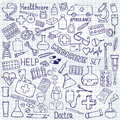 Health care and medicine icon set. Vector doodle illustrations.