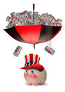 Health care money falling from umbrella of cash Royalty Free Stock Photos