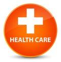 Health care (plus sign) elegant orange round button