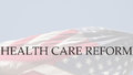 Health care reform words on usa flag the a swirling american Royalty Free Stock Image