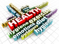 Health care related words on a clean floor mental and physical related Royalty Free Stock Image