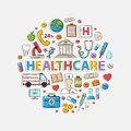 Health care set in the form of a circle Royalty Free Stock Photo