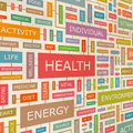 Health concept related words in tag cloud conceptual info text graphic word collage Stock Images