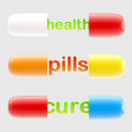 Health and cure pills with the letters inside Stock Image