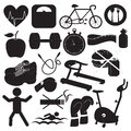Health and fitness icons collection for in black white Royalty Free Stock Image