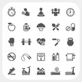 Health and fitness icons set eps don t use transparency Stock Image