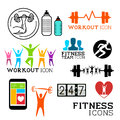 Health and fitness symbols icons set vector illustrations Stock Photo