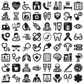 Health flat icons black set of about Stock Photography