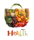 Health food handbag healthy symbol represented by foods in the shape of a heart to show the concept of eating well with fruits and Royalty Free Stock Photos