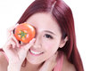 Health girl show tomato with smile face food concept asian woman beauty Stock Photos
