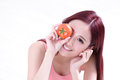 Health girl show tomato with smile face food concept asian woman beauty Royalty Free Stock Photos