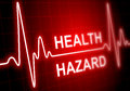 Health hazard written on red heart rate monitor expressing warning condition Stock Image
