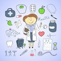 Health icons doodle ilustration woman doctor vector Royalty Free Stock Image