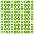 100 health icons hexagon green