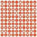 100 health icons hexagon orange