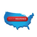 Health insurance button on usa map Royalty Free Stock Image