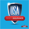 Health insurance button on usa shield Stock Images