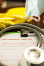Health insurance claim form shallow depth of field Royalty Free Stock Images