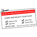 Health insurance exchange coupon concept a red white and black making a great with terms such as platinum gold silver and more Stock Photography
