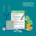 Health insurance form concept vector illustration. Filling medical documents. Stethoscope, drugs, money, calculator
