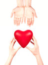 Health insurance or love concept isolated with hand and heart Stock Photo