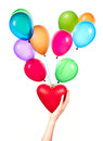 Health insurance or love concept isolated with heart and balloons Royalty Free Stock Photography