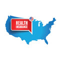 Health insurance usa label speech bubble Stock Photos