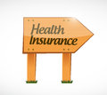 Health insurance wood sign concept illustration design graphic Stock Image