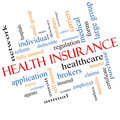 Health insurance word cloud concept angled with great terms such as healthcare reform enroll claims and more Royalty Free Stock Photos
