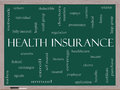Health insurance word cloud concept on a blackboard with great terms such as healthcare reform enroll claims and more Stock Photography