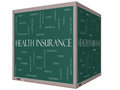 Health insurance word cloud concept on a d cube blackboard with great terms such as healthcare reform enroll claims and more Royalty Free Stock Images