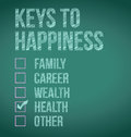 Health keys to happiness illustration design over a blackboard Stock Image