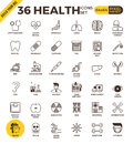 Health and medical pixel perfect outline icons Royalty Free Stock Photo