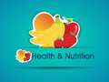 Health and Nutrition sticker with organic food. Stock Images