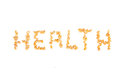 Health nuts word written with pignolia Stock Photos