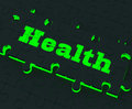 Health puzzle shows healthy medical care showing and wellbeing Royalty Free Stock Images