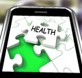 Health Smartphone Shows Medical Wellness And Self Care Royalty Free Stock Photo