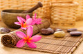 Health spa setting low light with ambient frangipani hot and cold stone on bamboo mat Royalty Free Stock Photo