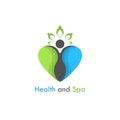 Health & spa vector logo design template.Healthcare & Medical symbol with heart shape.Heart care logo