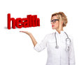 Health symbol woman doctor standing with outstretched hand with Royalty Free Stock Images