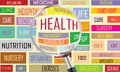 Health tag cloud vector with magnifying glass Stock Photos