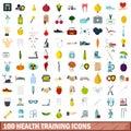 100 health training icons set, flat style