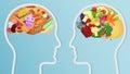 Health and unhealth Food eat in brain.