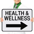 Health and wellness a medical person holding a modified one way sign indicating Stock Images