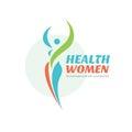 Health women - vector logo template. Healthy sign. Beauty salon symbol. Fitness woman concept illustration. Human character.