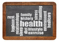 Health word cloud concept and on a vintage slate blackboard Royalty Free Stock Photo