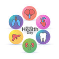 Health world day global holiday banner greeting card flat vector Illustration.