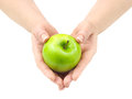 Healthcare concept juicy apple in the hands Royalty Free Stock Images