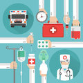 Healthcare flat design with ambulance and doctor in the mask